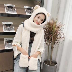 ZDFURS*Winter hat women double thick hat scarf gloves one three-piece Korean version parent-child thickening scarf students 201209