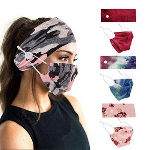 Sports Headbands with Face Mask Elastic Button Head Band Facemask 2pcs Set Women Big Girls Christmas Gift Floral Camo 19 Designs DW6180