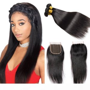 Gerade Webart peruanisches Haar 3 Bündel mit Verschluss 7A Unverarbeitete Reinheit Haarbündel natürlich schwarz Best Weave Haare zum Verkauf