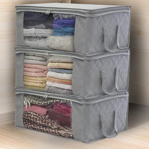 New Non-Woven Family Save Space Foldable Clothes Organizer Home Storage Box With Zipper Quilt Storage Bag Clear Window Organizer