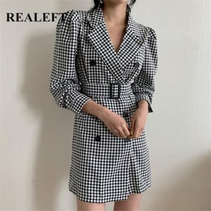 REALEFT Classic Houndstooth Women's Blazer Dresses with Belt Notched Office Ladies Double Breasted Mini Dress Streetwear Female