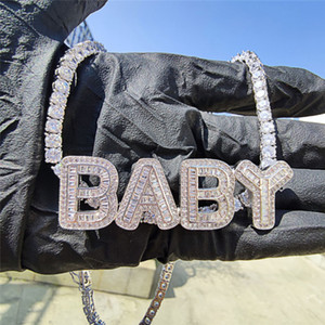 Gold Silver Plated Bling CZ DIY Custom Name Letter Pendant Necklace with 4mm 20inch CZ Tennis Chain for Men Women Nice Gift