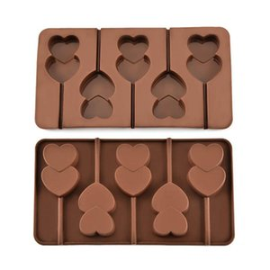 5 Grid Double Heart Shaped Silicone Non Stick Lolly Chocolate Cookie Candy Mold Cookie Tools Chocolate Mold Hot