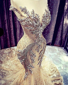Golden Champagne Evening Gown Mermaid Sparkling Tulle abiye Crystal Formal Dress Rhinestone Evening Gown Dubai