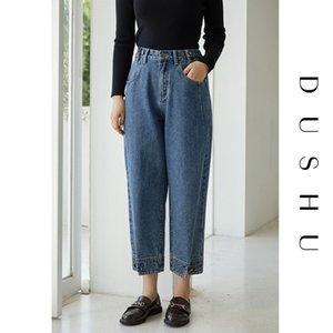 Dushu Elastic High Taille Gerade Frauen Plus Größe Lässig Blue Denim Jeans Freunde Herbst Winter Weibliche Hose 2020