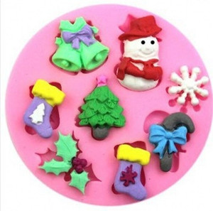 DIY Mold Epoxy Resin Silicone Bakeware Mould Lovely Snowman Christmas Tree Leaf Sock Bell Baking Molds Hot Sale 2 1gw L2