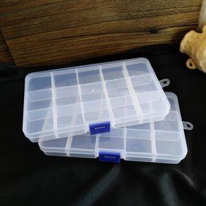 15 Gitter Transparente einstellbare Slots Schmuckschatulle Perle Organizer Boxen Aufbewahrung Kunststoff Schmuck Aufbewahrungskoffer Kostenloser schnelles Meer Versand KKC4944