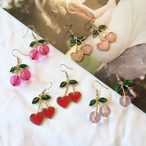 Sweet Fresh Cherry Coração Gota Brincos Para As Mulheres Bonito Moda Gota Esfera De Frutas Cherry Pingente Brincos Girl Feminino Presentes Jóias
