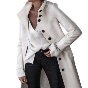 2020 Women Trench Long Coat Autumn Winter Wooll Coats Long Sleeve Turn-Down Collar Outwear Loose Plus Size Cardigans Jackets