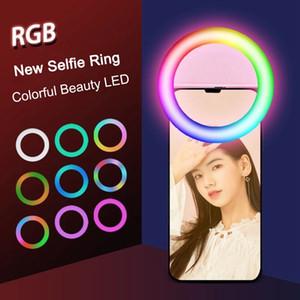 RECARGÁVEL RGB RGB Anel LED Encher Light Telefone Celular Selfie Anel Flash Lente de Brilho 3-Nível Clip-On para Smartphone Light 3.3