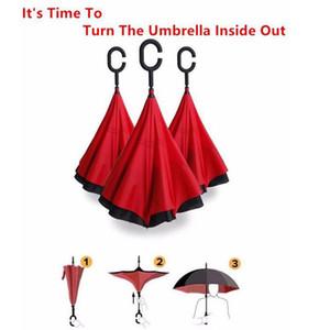 latest high quality low price windproof anti-umbrella folding double-layer inverted self-reversing rainproof C-type hook hand EWF3055