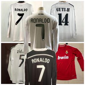 레트로 클래식 레알 마드리드 긴 소매 축구 유니폼 Zidane Raul Kaka 2001 2002 05 06 2010 11 12 14 14 15 16 레트로 축구 전체 셔츠