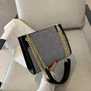 Houndstooth Pattern Woollen Handbags for Women 2020 New Fashion One-shoulder All-match Insfamous Chain Messenger Bag Sac Luxe cc