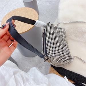 Glänzender Designer Bling Buling Mode Frauen Schulter Voll Diamant Dekorieren Abendtasche Dame Glitter Strass Party Tasche Taschen