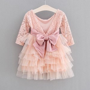 Humor Bear Girls Dress 2020 Summer LaceTulle Cake Dresses Baby Clothes Lace Long-Sleeve Gown Princess Dress Baby Kids Girl