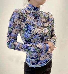 2020 패션 새로운 여성 플라워 프린팅 바닥 티셔츠 숙녀 캐주얼 탑 티 GDNZ 9.22 A1112