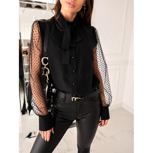 Casual Button Ladies Office Top Bow Long Sleeve Ruffle Blouse Shirt 2021 Autumn Women Dots Mesh Sleeve White Black Shirt Blusa