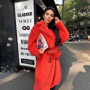 Luxury Winter Long Coat Women 2020 New Solid Color Faux Lamb Fur Coat Plush Teddy Outwear Jacket Classic Warm Overcoat LJ201106