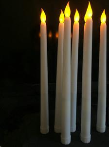 Lámpara de vela de cono de marfil sin llama LED, vela, mesa de boda de Navidad, decoración de la iglesia 28 cm (h)