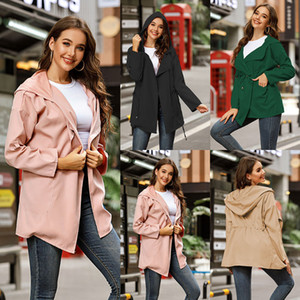 Trench Coat Women Clothes Casual Solid Hooded Long Sleeve Windbreaker Loose Button Long Rain Coat Tops Jacket 101901