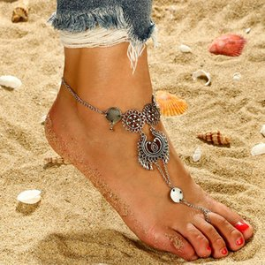 One Free Shipping Fashion Foreign Trade Jewelry Simple Flower Hollow Carved Teardrop-shaped Tassel New Anklet Foot Ring