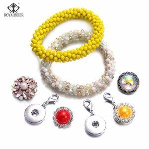 Royalbeier Mais novo Snap Button Trendy Elastic Braceletes Glass Beads Colofrul encantos Alongamento Elástico Cabelo Corda Pulseira Para As Mulheres