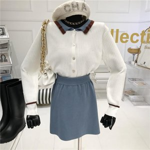 Autumn winter 2020 New Loose Contrast Doll Collar Slim Knit Sweater Coat Gentle Wind Short Skirt Two-piece Set