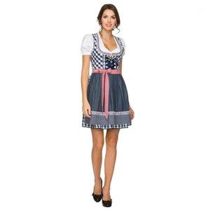 여성 독일 옥토버 페스트 맥주 소녀 의상 Bavarian Dirndl 드레스 블라우스 앞치마 1