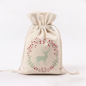Christmas Bag Drawstring Gift Bag Canvas Bag Large Candy Storage Bags Reindeers Print Organizer Bags Santa Sack Pouch For Kid VT0732