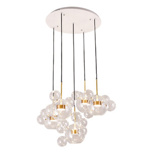 Nordic Clear Glass Led Pendant Lamp Modern Soap Bubble Ball Fixtures Indoor Lighting Lustre luminaria Hanging Lamp AC 85-265V