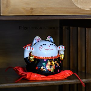 5 inch ceramic Japan Eight Real Money lucky cat Ceramic Ornament Cute Fat Happy Maneki Neko Piggy Bank For Home Decor Toy Gift D1032