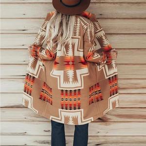 Boho Inspired Blanket jacket women Womens Long Tribal Print Camel Bohemian Geometric Jacquard Buttons Down Lapel jacket coat