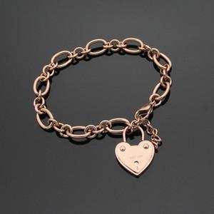 wholesale trade sales letter k key hole stainless steel jewelry heart bracelet luxury designer bracelet with rough gold bracelet lady