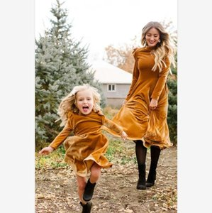 Parent-child Dress Women Elegant Velvet O Neck Long Sleeve A-line Women Dress Autumn Winter Outwear Knee-length Vestidos