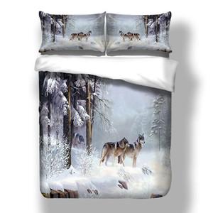 Snow Wolf Duvet Cover Bedding Set Cama Folha Gêmea Gêmea Rainha Completa Tamanho Rei 3pcs