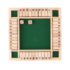 Shut The Box Dice Board Game 4 Sided 10 Number Wooden Flaps & Dices Game Set for 4 People Pub Bar Party Supplies