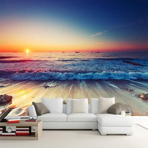Romantic Seaside Beach Sunset Landscape 3D Stereo Photo Mural Wallpaper Living Room Sofa Dining Room Backdrop Murals Home Decor