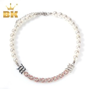 The Bling King Net Red Same Choker Freshwater Pearls Connect Cuban Link With Chain Extension Short Necklace Female Jewelry New Q1129