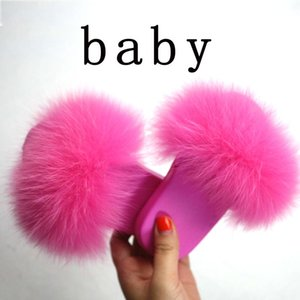 Real Fox Hair Slippers Kids Fur Home Fluffy Sliders Winter Plush Furry Summer Flats Sweet Baby Shoes Large Size 34 Pantufas MX190727 NnD