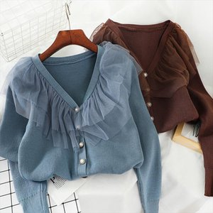 Women Cardigans Solid Mesh Patchwork Student Casual Sweaters 2020 V Neck Single Breasted Chaqueta Mujer Korean