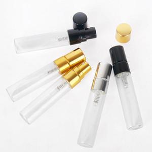 상위 5ml 빈 명확한 재충전 가능한 향수 분무기 투명 유리 스프레이 병 골드 실버 캡 휴대용 샘플 유리 바이알 3 색