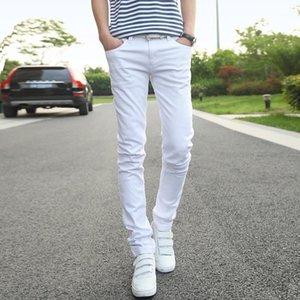 Mens jeans moda business casual 2020 calças masculinas brancas deixadas rom left rom calças de cowboy tamanho 36 estilo simples design popular trend1