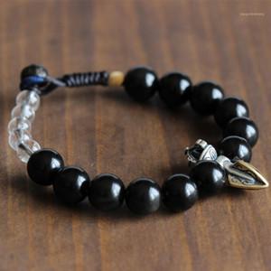 Piedra obsidiana negra naturual con budista tibetano Vajra Charm Hecho a mano Lucky Knots Pulsera Om Jewerly Amulet Bangle for Men1