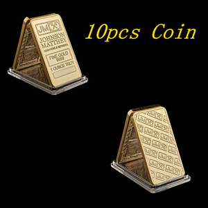 10pcs Johnson Matthey Gold Plated Bars 50 Mm X 28 Mm 1 OZ JM Coin Decoration With Laser Serial Number