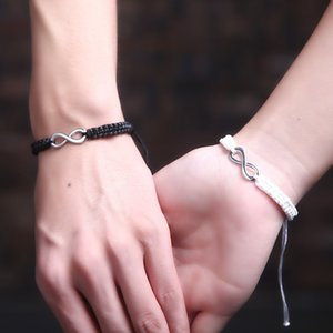 2pcs set Handmade Rope Bracelet Black White Braided String Braclet For Women Men Lovers BFF Braslet Couple Wristband Jewelry