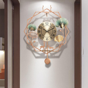 Nouveau Chinois Style Salon Fashion Art Creative Clock Light Prestige Ménage Décoratif House Horloge murale silencieuse