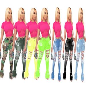 Kadın Denim Flared Uzun Pantolon Çan Alt Kot Pantolon Tulumlar Seksi Delik Yırtık Tam Boy Tayt Tayt Bodycon Streetwear Şık Giyim 856