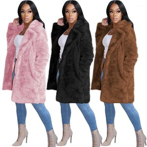 Casual Loose Long Coat Solid Color Womens Outerwear Fashion Long Sleeve Lapel Neck Cardigan Plush Coats Designer Female Winter