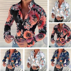 Mens Floral Shirts Long Sleeve Casual Rose Flower 3D Printed Turn Down Collar Slim Fit Male Clothing