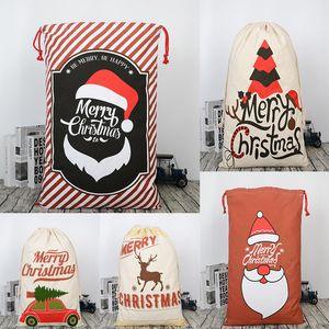 2019 New Christmas Large Canvas Gift Bag Monogrammable Storage Bags Santa Reindeers Drawstring Candy Bag Christmas Supplies W95955
